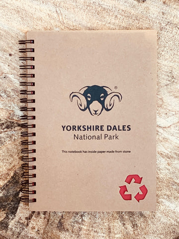 Image shows front cover of notepad, with Yorkshire Dales logo on.
