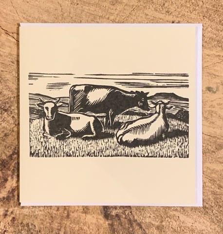 Three Cows Woodblock Card (Part of the Dales Countryside Museum collection)