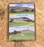 Image shows Yorkshire Three Peaks on a fridge magnet