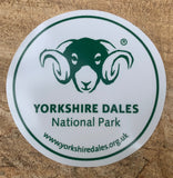 Image shows front of white car sticker with green Yorkshire Dales logo on.