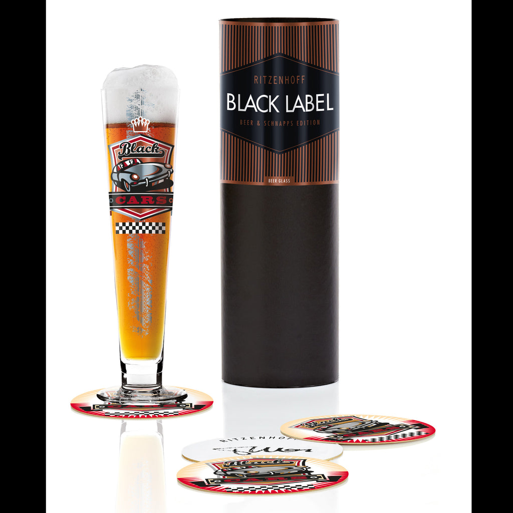 Black Label beer glass T.Marutschke(black cars)16F
