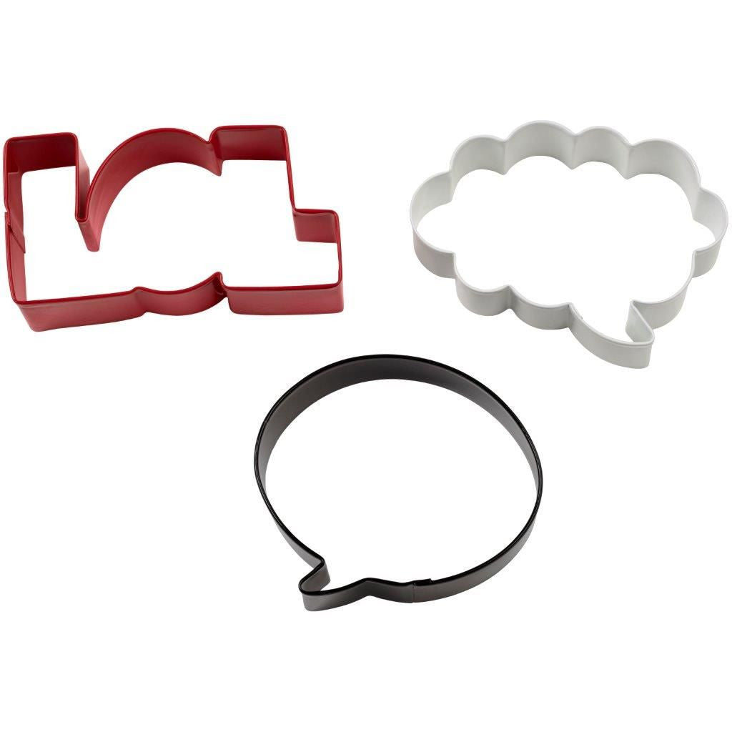 Cookie Cutter Set Word Bubbles Colored Metal 3pc.