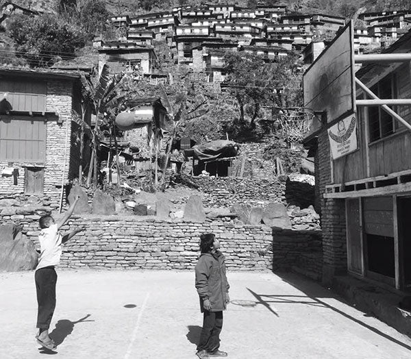 Playing basketball in Nepal