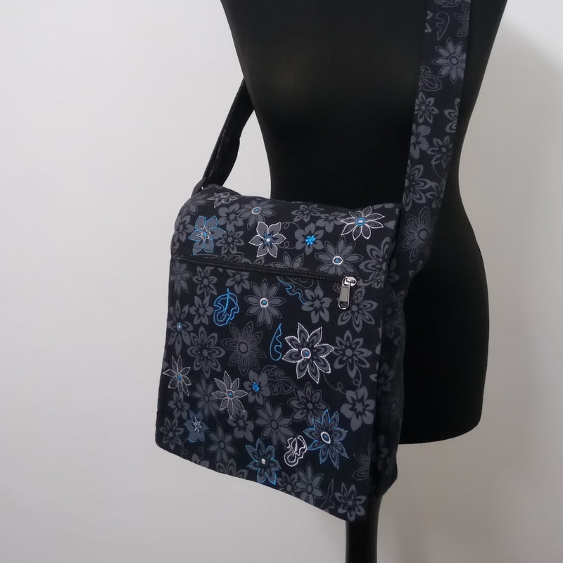 Midnight Flower Power Cotton Bag