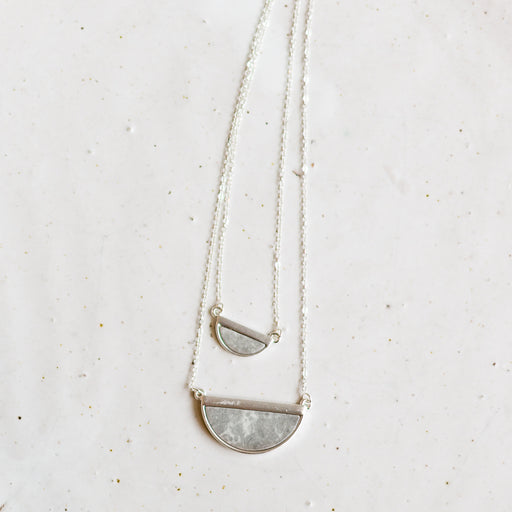 Areta necklace | silver + grey