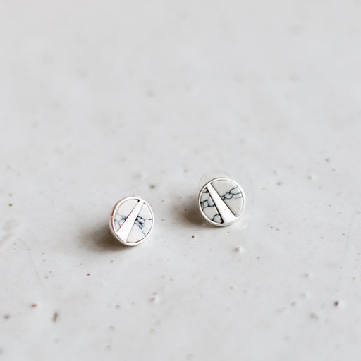 Mea earrings | silver + white