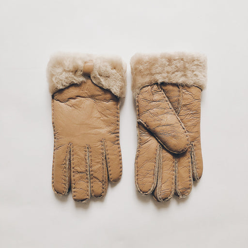 Merle sheepskin gloves | Camel
