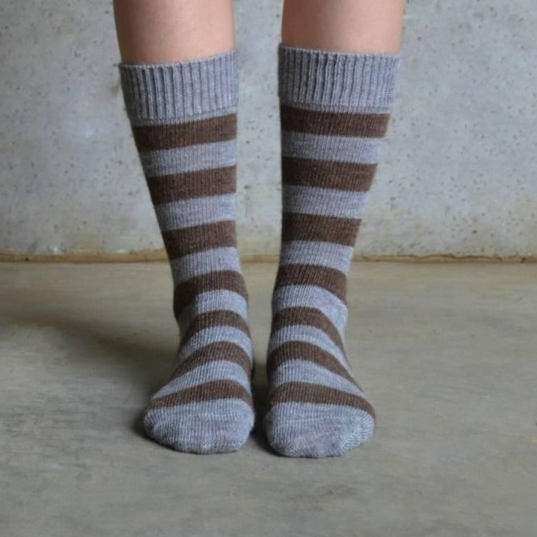 Alpaca socks | brown striped