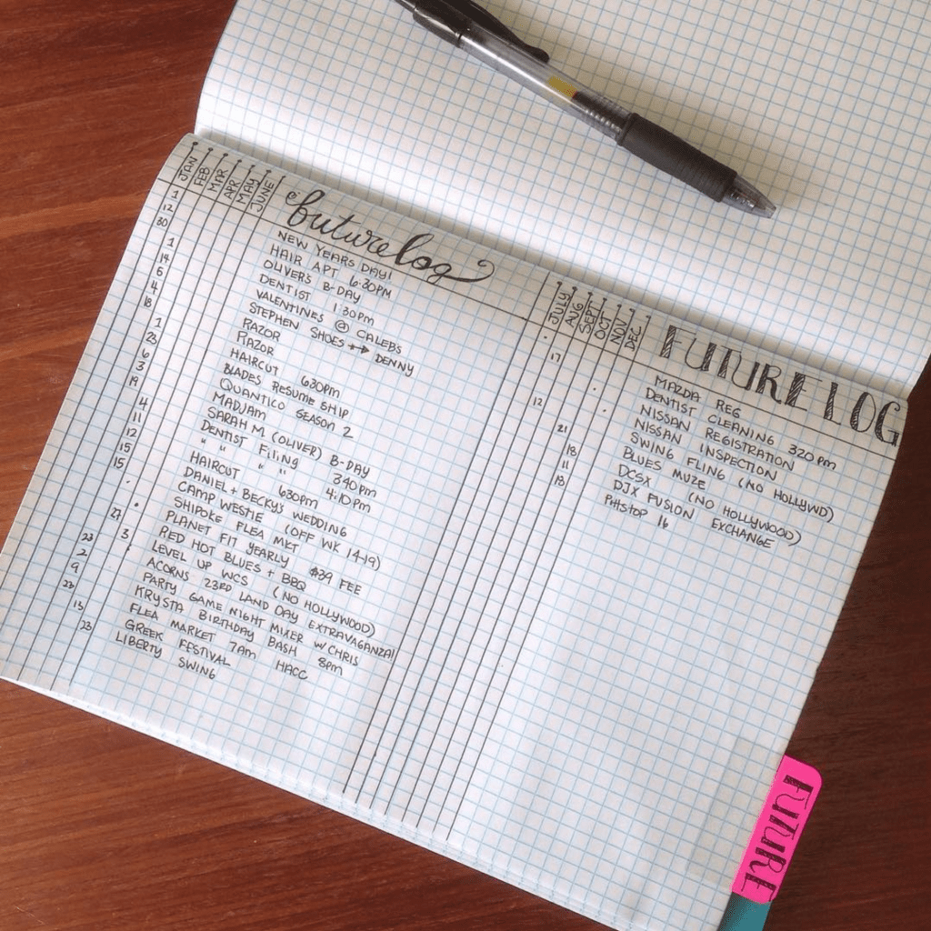 Bullet Journal Future Log by @raehaus