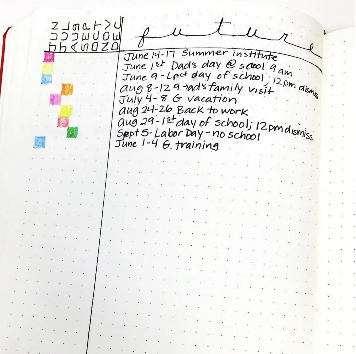 Color-coded Alastair Future Log method in the Bullet Journal