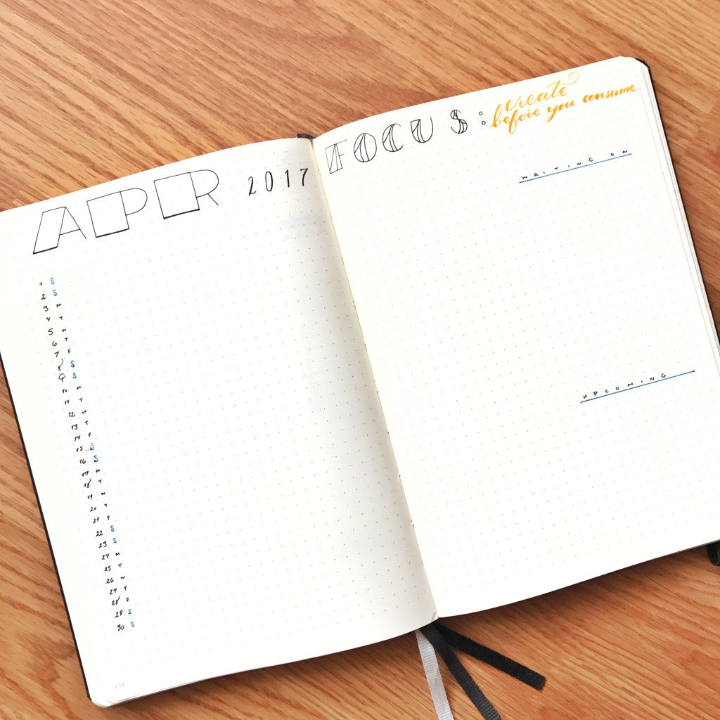 Kim's Bullet Journal Monthly Log