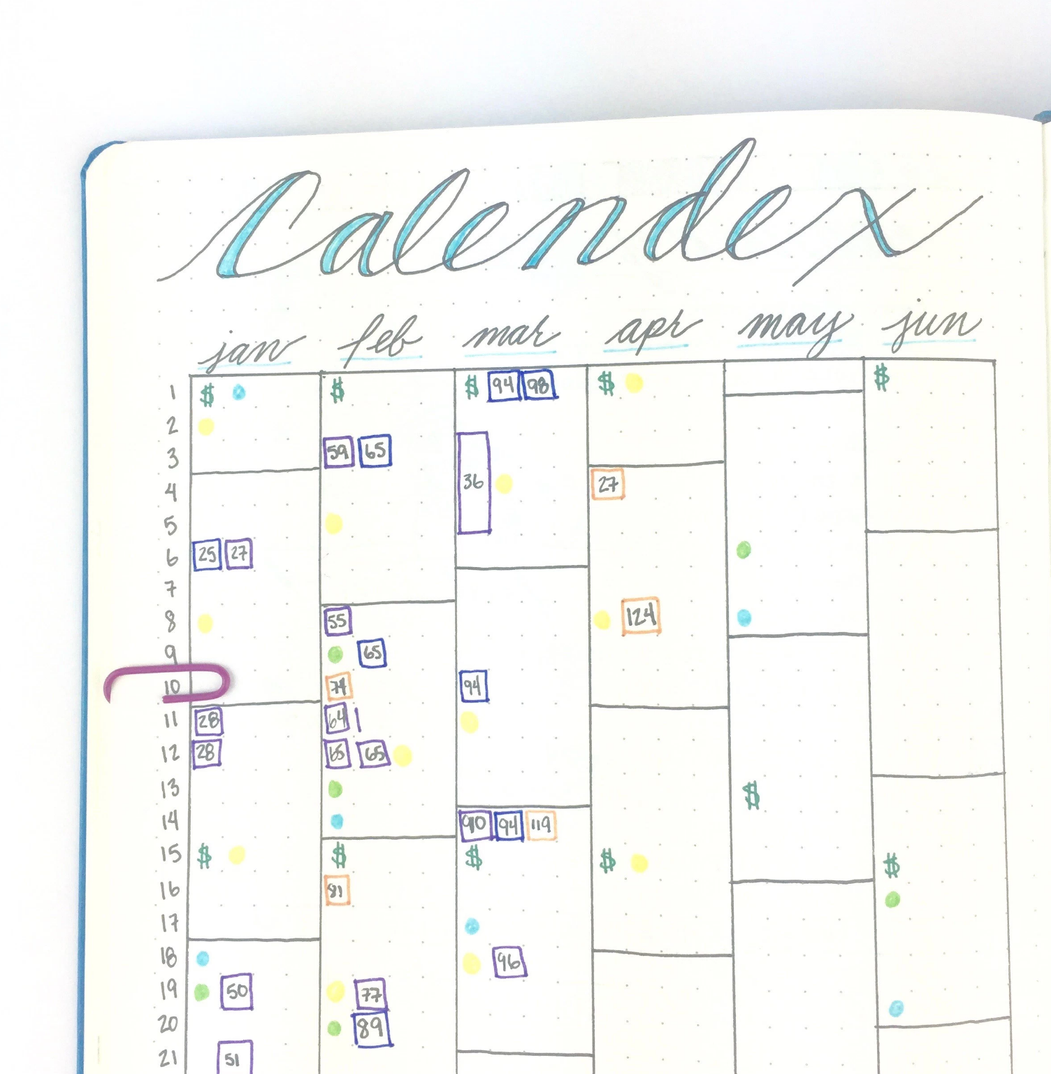 Bullet Journal Calendex Future Log. Photo by @bohoberry