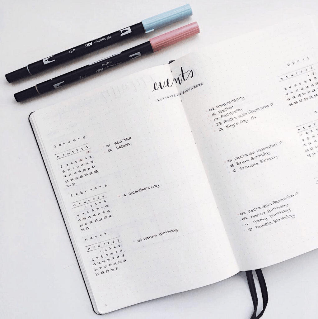Bullet Journal Future Log by @cardicreates
