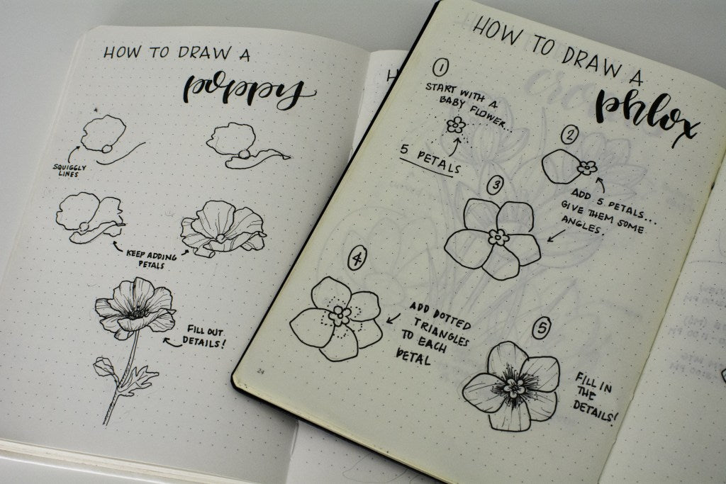 Liz flower tutorials in her Bullet Journal