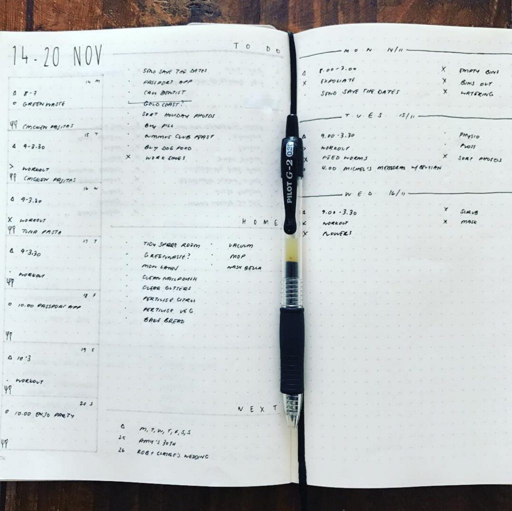 Bullet Journal Weekly Log by @bujo.auslife