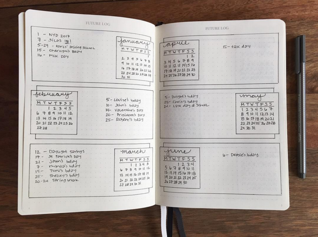 Bullet Journal Future Log by @bullet.journal.love
