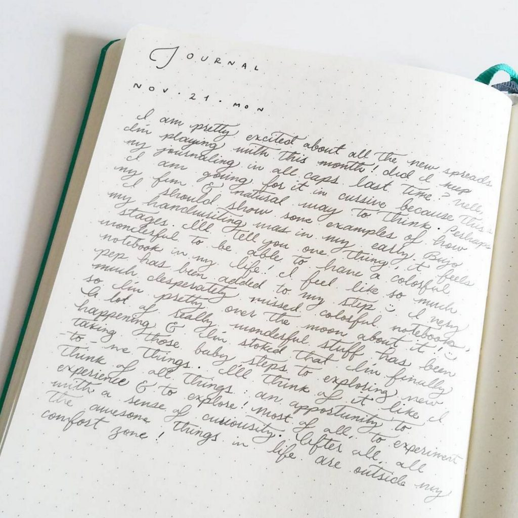 Journaling in the Bullet Journal by @tinyrayofsunshine