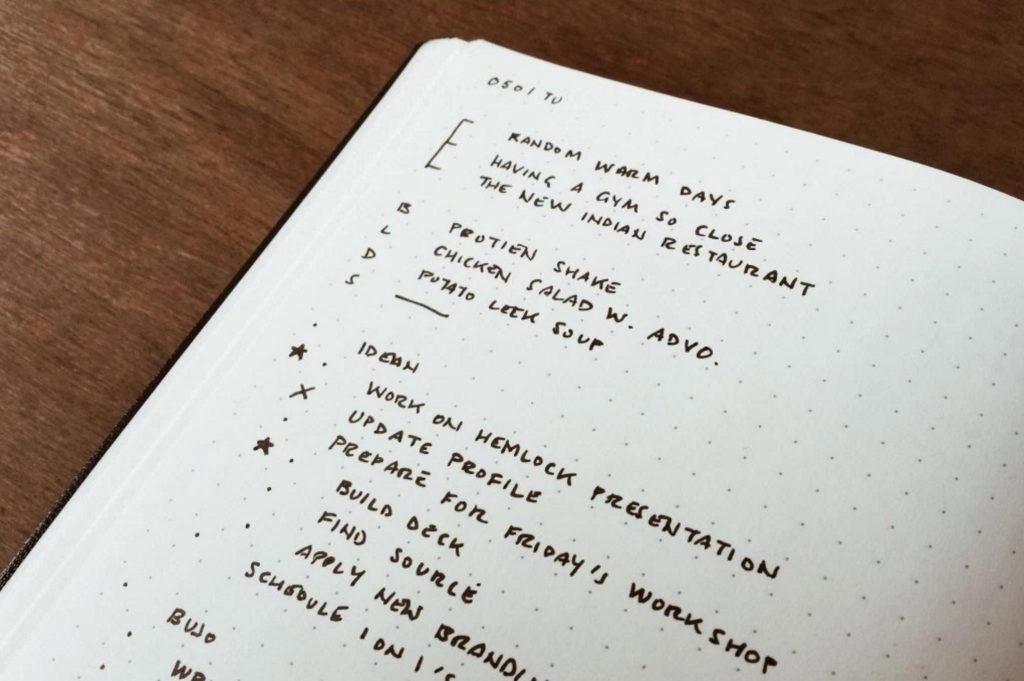 Bullet Journal Inventor Ryder Carroll's Gratitude Log in his Daily Logs