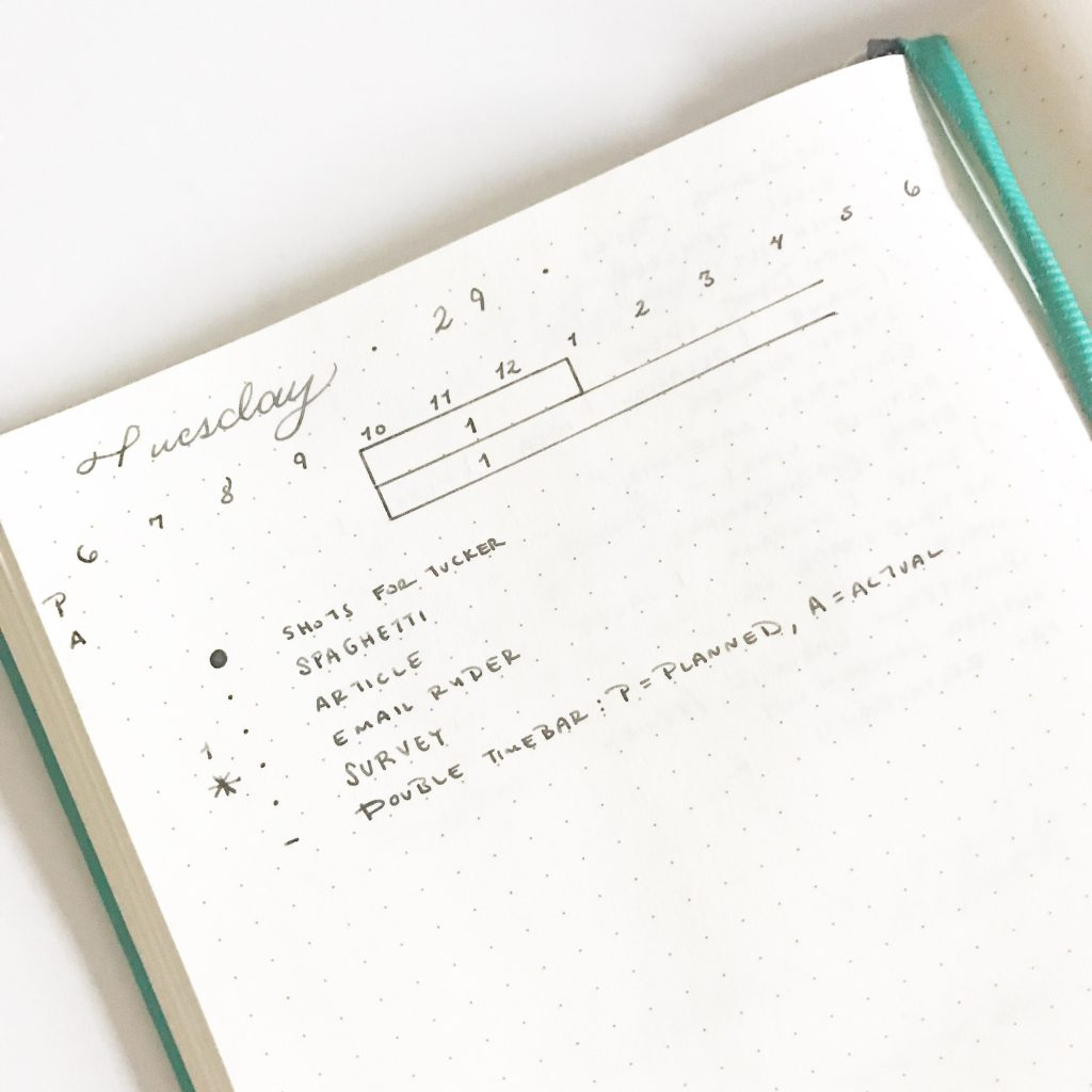 Bullet Journal Timeline - Time Bar with planned vs actual bars by @tinyrayofsunshine