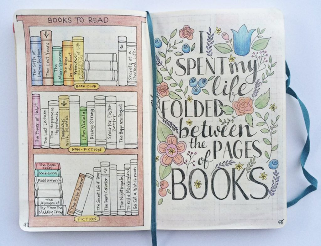 Bullet Journal Bookshelf Books to Read Collection by @thebulletjournaladdict