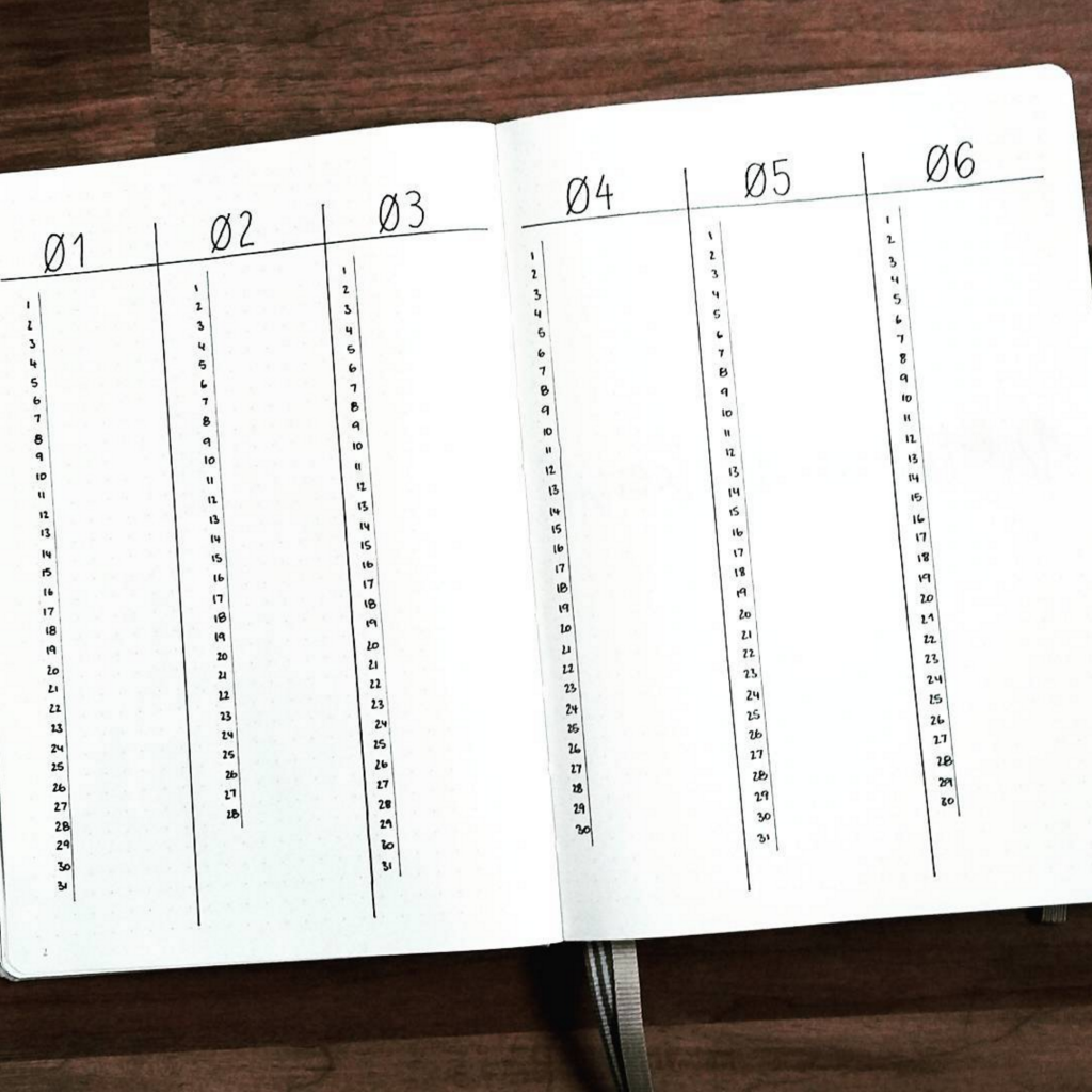 Vertical Bullet Journal Future Log by @lindaplans