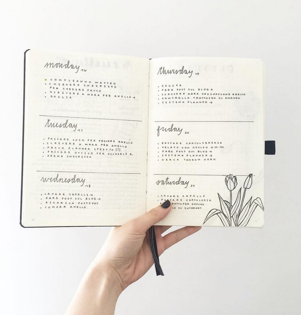 Bullet Journal Weekly Log by @feebujo