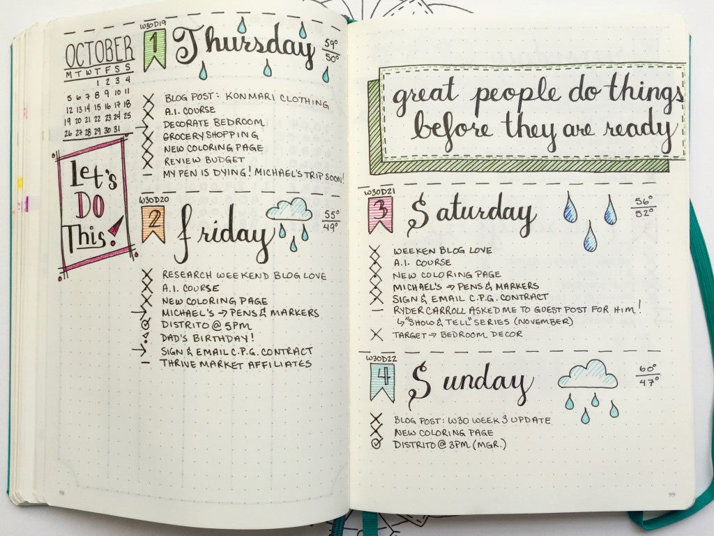 Bohoberry Bullet Journal daily pages