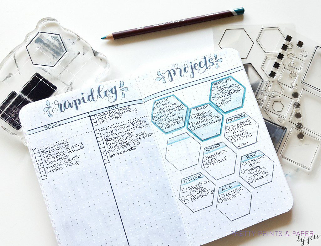 July bullet journal layout set up 4 monthly projects