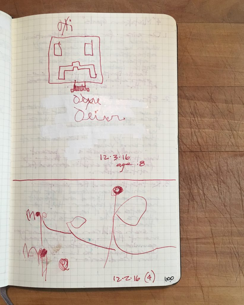 Susiebjournal's kid's drawings in her Bullet Journal