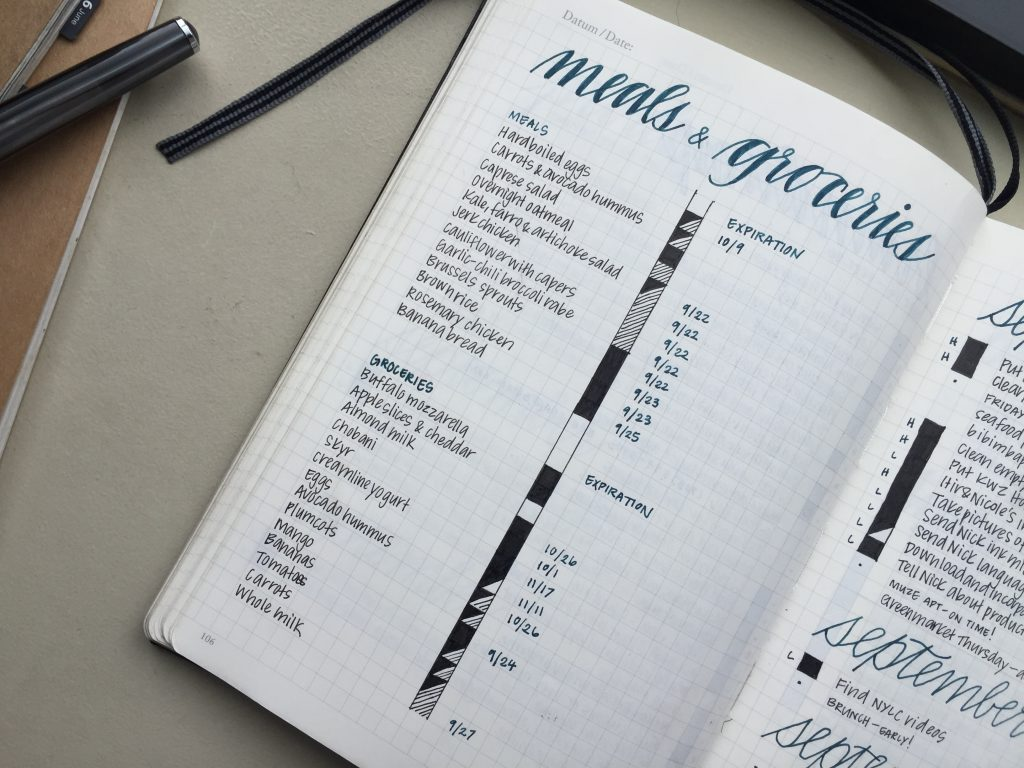How Elena of @mightierthan meal plans in her Bullet Journal