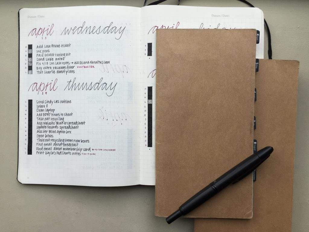 Notebooks Elena of @mightierthan uses to Bullet Journal