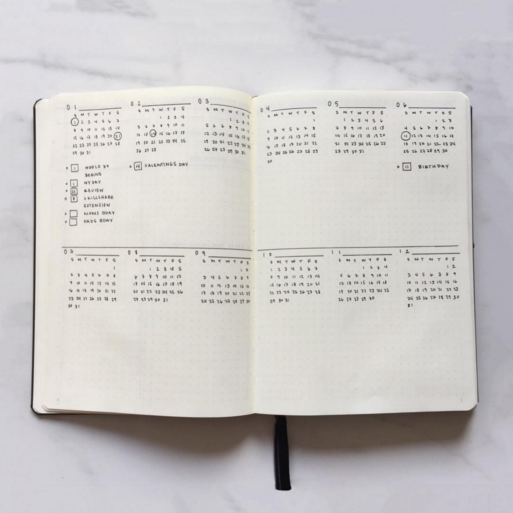 Bullet Journal Future Log by @wineorbread