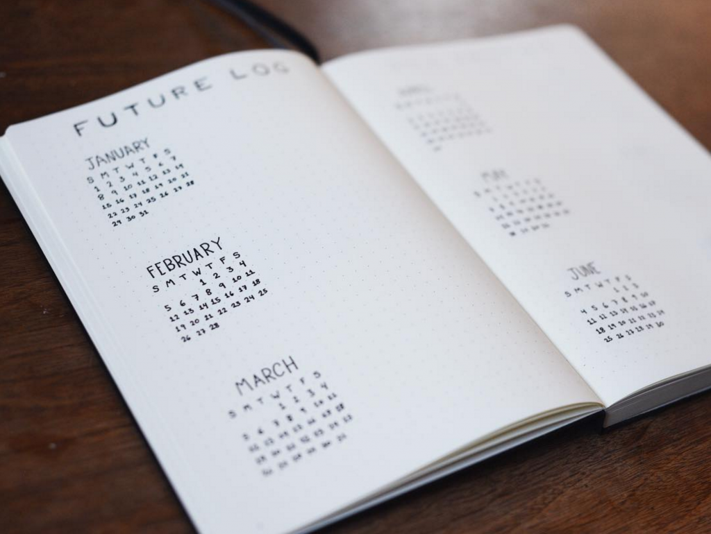 Bullet Journal Future Log by @blackinkjournal