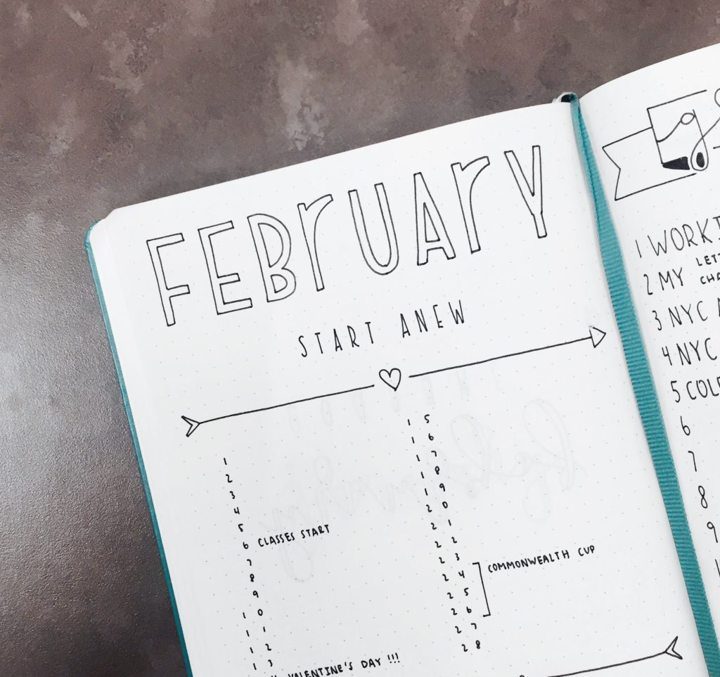 Monthly Log from The Illustrated Bullet Journal of Sarah from @luckyletters