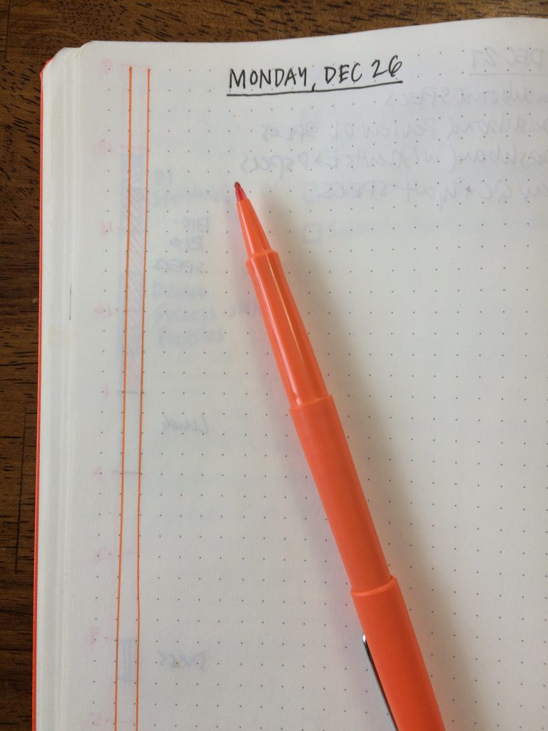 Mike Rohde - Bullet Journal Time Bar. I use a bright orange or other bright color flair marker to contrast to the black used for the details.