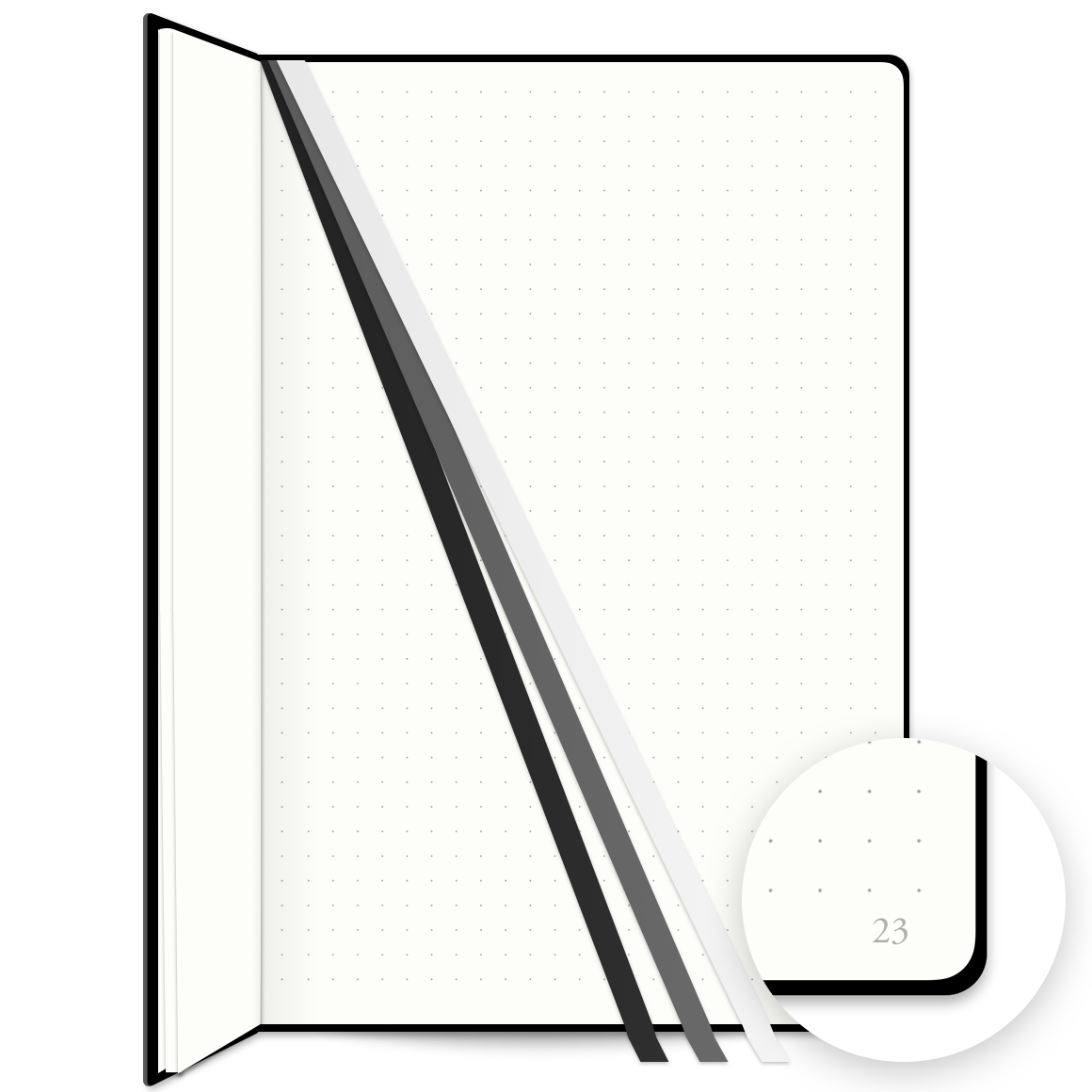 Bullet Journal Notebook Features 3 Bookmarks and numbered pages