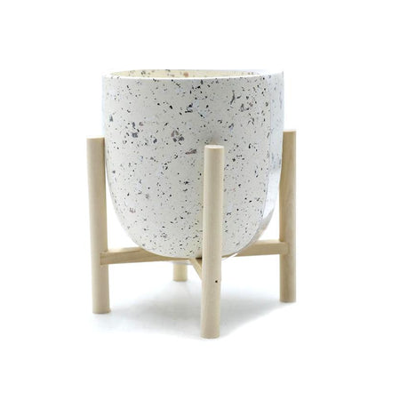 Ceramic Candle With Wood Stand Wax Citronella Large