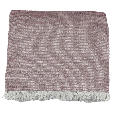 Chambray Waffle Throw Pink