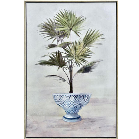 Framed Potted Fan Palm