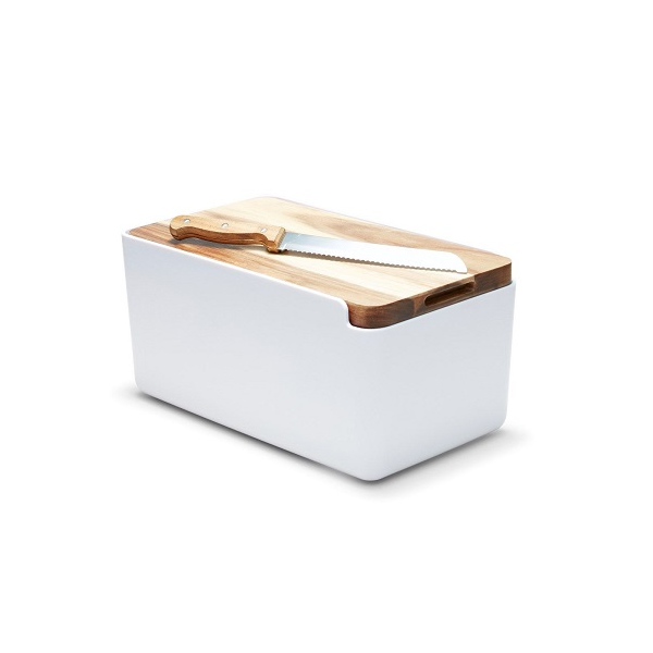 Bread Bin White with Wooden Cutting Board Lid