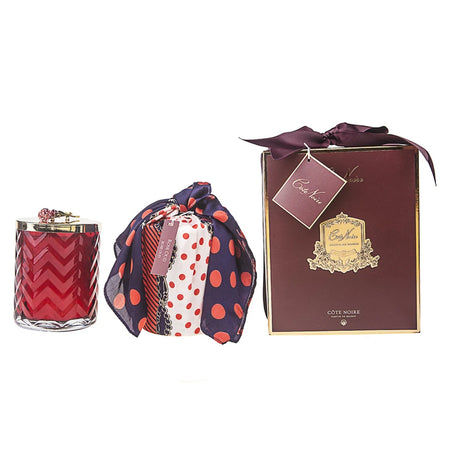 Cote Noire Red Herringbone Candle & Scarf Gift Set