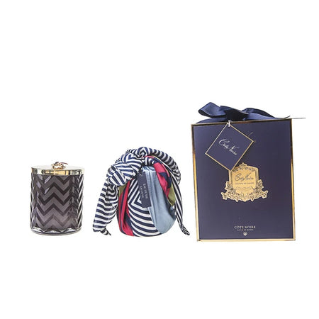 Cote Noire Navy Herringbone Candle & Scarf Gift Set