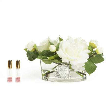 Cote Noire Perfumed Oval Ivory Rose - Clear Glass