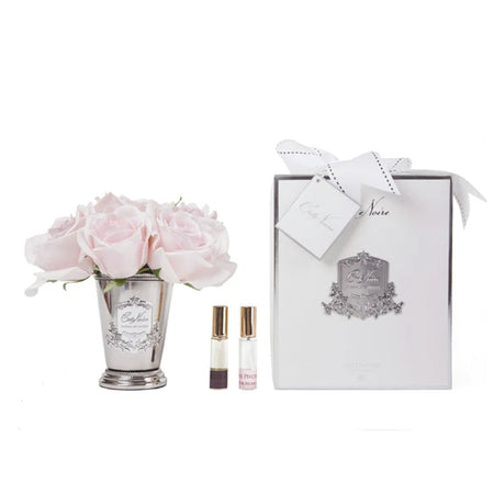 Cote Noire Perfumed Seven Rose Bouquet French Pink - Silver Vase