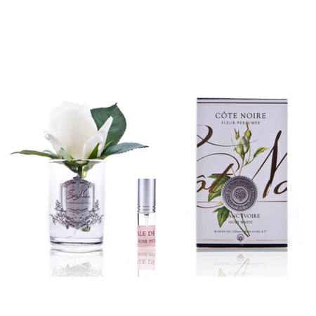 Cote Noire Perfumed Rose Bud Ivory White - Clear Glass
