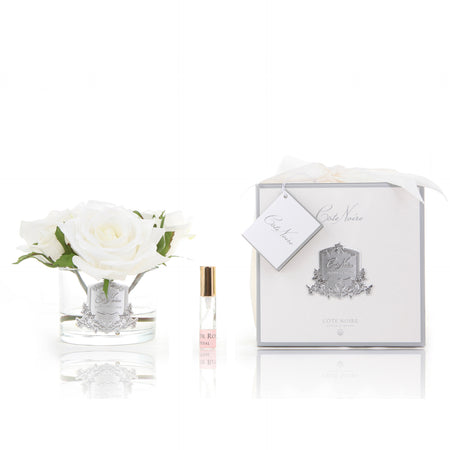 Cote Noire Perfumed Five Rose Bouquet Ivory - Clear Glass