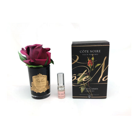 Cote Noire Perfumed Rose Bud Carmine Red - Black Glass