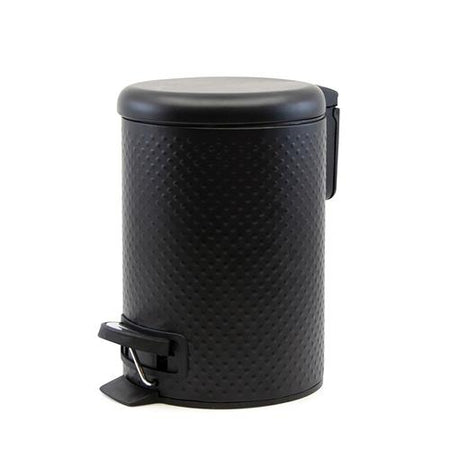 Salt & Pepper Spot Pedal Bin Black 3L