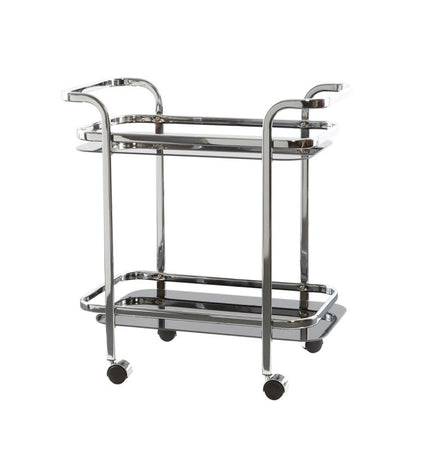 Rectangle Trolley Chrome Black Glass
