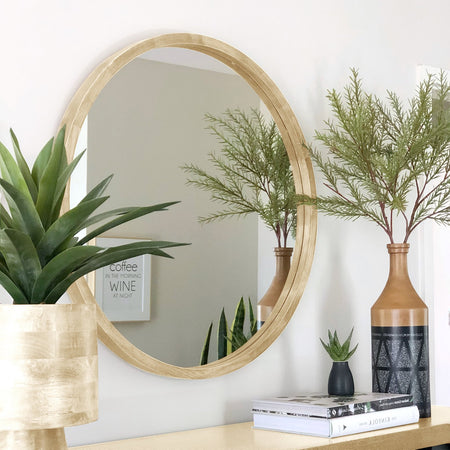 Tina Round Mirror 80cm Light Wood